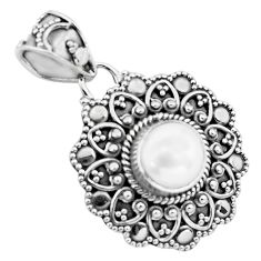 2.69cts natural white pearl 925 sterling silver pendant jewelry p86319