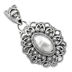 2.46cts natural white pearl 925 sterling silver pendant jewelry p86320