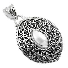 2.44cts natural white pearl 925 sterling silver pendant jewelry p86338