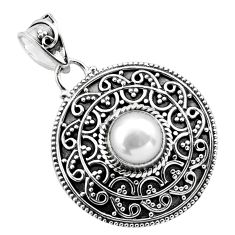 2.51cts natural white pearl 925 sterling silver pendant jewelry p86340