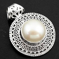 8.71cts natural white pearl 925 sterling silver pendant jewelry p86481
