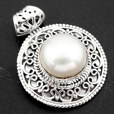 10.00cts natural white pearl 925 sterling silver pendant jewelry p86490