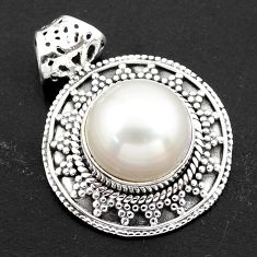 8.71cts natural white pearl 925 sterling silver pendant jewelry p86492