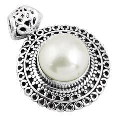 12.40cts natural white pearl 925 sterling silver pendant jewelry p90289