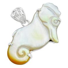 21.79cts natural white pearl 925 sterling silver seahorse pendant jewelry p35914