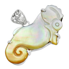 19.58cts natural white pearl 925 sterling silver seahorse pendant jewelry p35916