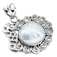 14.12cts natural white pearl 925 sterling silver seahorse pendant jewelry p59717