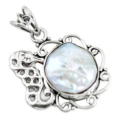 12.06cts natural white pearl 925 sterling silver seahorse pendant jewelry p59797