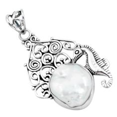13.71cts natural white pearl 925 sterling silver seahorse pendant jewelry p59841