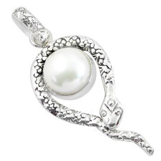 4.18cts natural white pearl 925 sterling silver snake pendant jewelry d31782