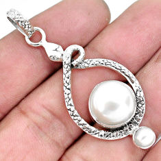 8.03cts natural white pearl 925 sterling silver snake pendant jewelry p49181