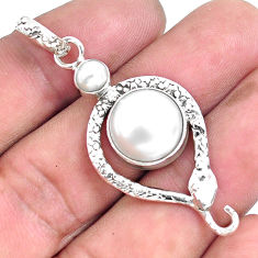8.03cts natural white pearl 925 sterling silver snake pendant jewelry p49261