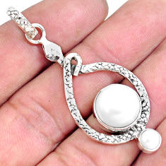 8.27cts natural white pearl 925 sterling silver snake pendant jewelry p49262