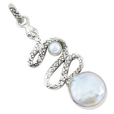 14.41cts natural white pearl 925 sterling silver snake pendant jewelry p58914