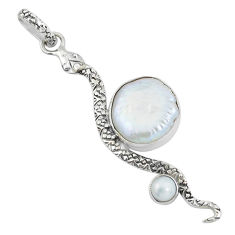 11.23cts natural white pearl 925 sterling silver snake pendant jewelry p58915