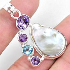 22.23cts natural white pearl amethyst topaz 925 sterling silver pendant p59219