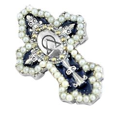 2.63cts natural white pearl enamel 925 sterling silver holy cross pendant c2995