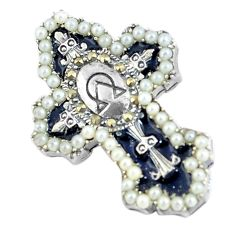 2.10cts natural white pearl enamel 925 sterling silver holy cross pendant c3014