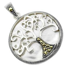 11.74cts natural white pearl marcasite 925 sterling silver pendant jewelry c3037