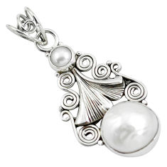 6.31cts natural white pearl round 925 sterling silver pendant jewelry d31781