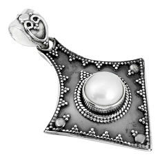 3.41cts natural white pearl round 925 sterling silver pendant jewelry p33567