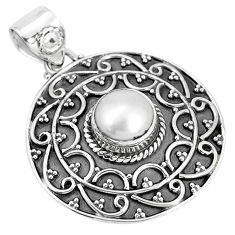 3.52cts natural white pearl round 925 sterling silver pendant jewelry p33571