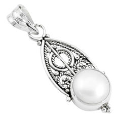 5.47cts natural white pearl round 925 sterling silver pendant jewelry p39446