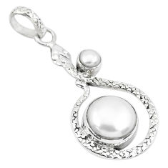 7.83cts natural white pearl round 925 sterling silver snake pendant p49121