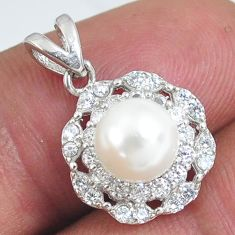 2.73cts natural white pearl topaz 925 sterling silver pendant jewelry c2877