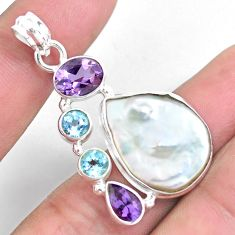 23.09cts natural white pearl topaz amethyst 925 sterling silver pendant p59249