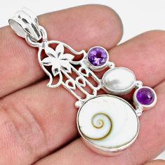 14.88cts natural white shiva eye 925 silver hand of god hamsa pendant d31009