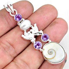 18.98cts natural white shiva eye amethyst 925 silver love birds pendant d31001