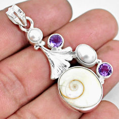 16.17cts natural white shiva eye amethyst 925 sterling silver pendant d31002