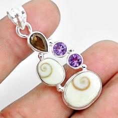 10.37cts natural white shiva eye smoky topaz 925 sterling silver pendant p65781