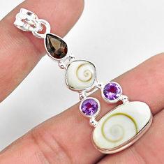 14.88cts natural white shiva eye smoky topaz 925 sterling silver pendant p70411