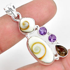 13.71cts natural white shiva eye smoky topaz 925 sterling silver pendant p70418