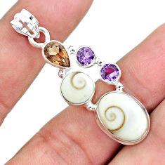 10.02cts natural white shiva eye smoky topaz amethyst 925 silver pendant p65792