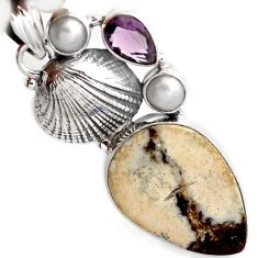 NATURAL WHITE WILD HORSE MAGNESITE AMETHYST 925 SILVER SEA SHELL PENDANT A1979