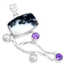 Clearance Sale- 15.44cts natural white zebra jasper amethyst 925 sterling silver pendant d31018