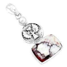 14.87cts natural wild horse magnesite pearl silver eagle charm pendant p55004