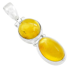 9.86cts natural yellow amber bone 925 sterling silver pendant jewelry p67361