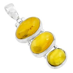 12.03cts natural yellow amber bone 925 sterling silver pendant jewelry p67366