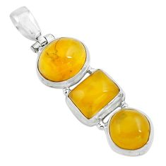 12.83cts natural yellow amber bone 925 sterling silver pendant jewelry p67374