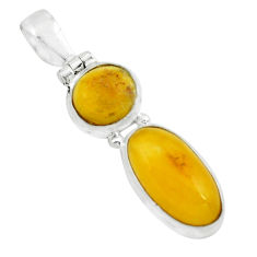 9.37cts natural yellow amber bone 925 sterling silver pendant jewelry p67377