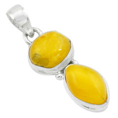9.37cts natural yellow amber bone 925 sterling silver pendant jewelry p67386