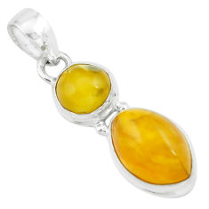 8.84cts natural yellow amber bone 925 sterling silver pendant jewelry p67395