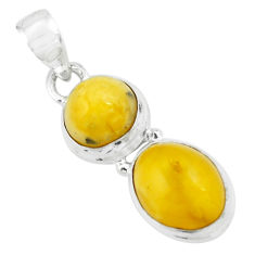 8.32cts natural yellow amber bone 925 sterling silver pendant jewelry p67399