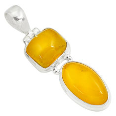 11.57cts natural yellow amber bone 925 sterling silver pendant jewelry p79099
