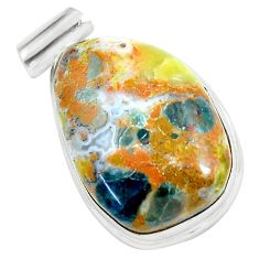 20.85cts natural yellow bio tourmaline 925 sterling silver pendant d31761