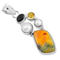 13.27cts natural yellow bumble bee australian jasper 925 silver pendant d31944